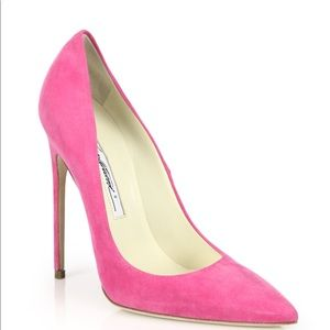 Brian Atwood pink suede pointy toe pumps 39.5